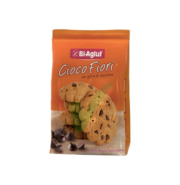 BiAglut Linea Biscotti Senza Glutine Cioco Fiori con Gocce di Cioccolato 200 g