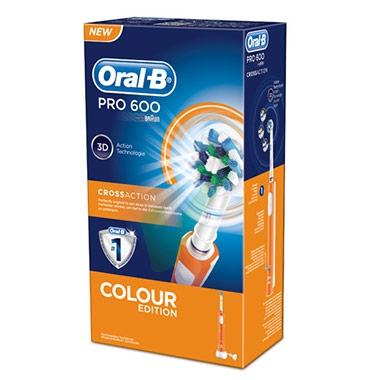 Oral-B Linea Igiene Dentale Quotidiana Pro 600 CrossAction Spazzolino Arancione