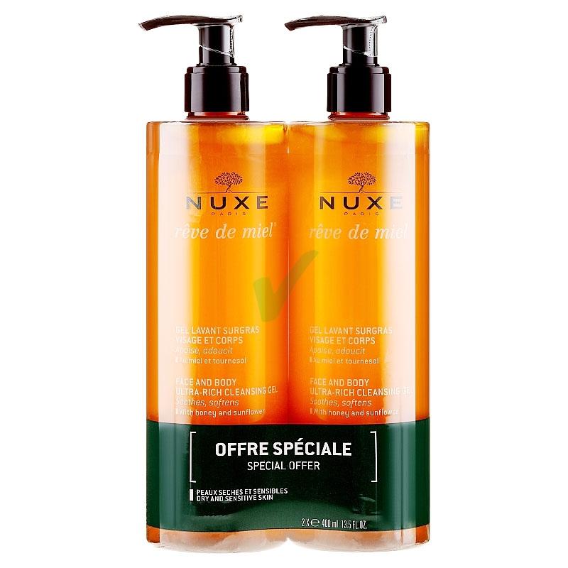 Nuxe Linea Reve de Miel Gel Lavant Surgras Gel Detergente Ricco Corpo 2x400 ml